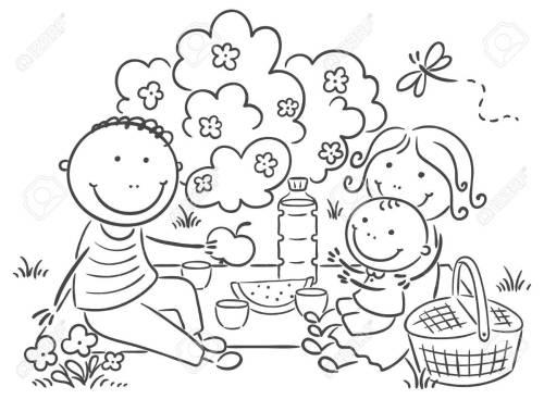small resolution of cartoon family having picnic outdoors royalty free cliparts vectors jpg 1300x955 summer family picnic clipart