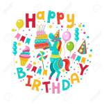 Happy Birthday Greeting Template A Set Of Holiday Vector Elements Royalty Free Cliparts Vectors And Stock Illustration Image 94360204