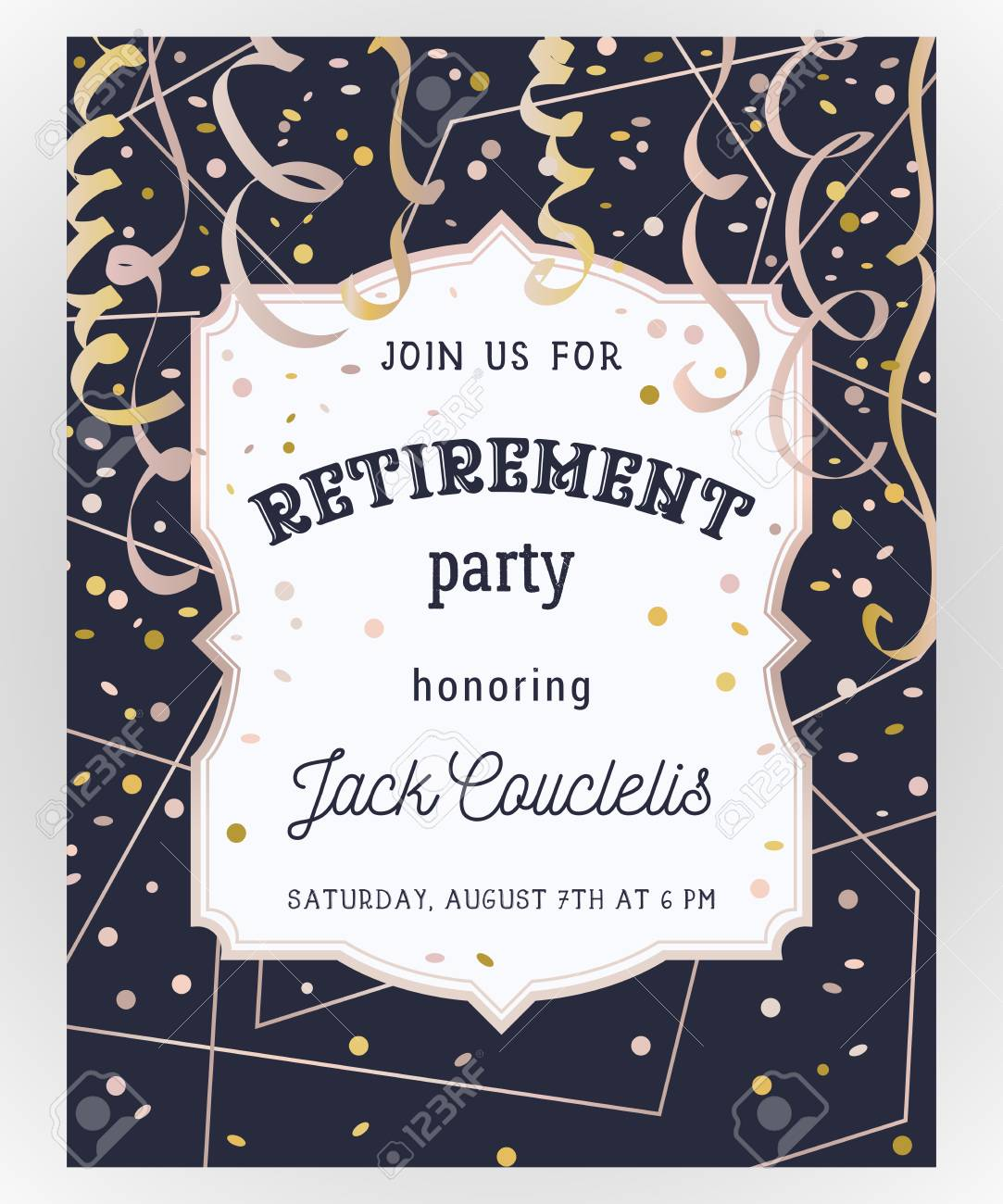 retirement party invitation design template with rose gold polygonal