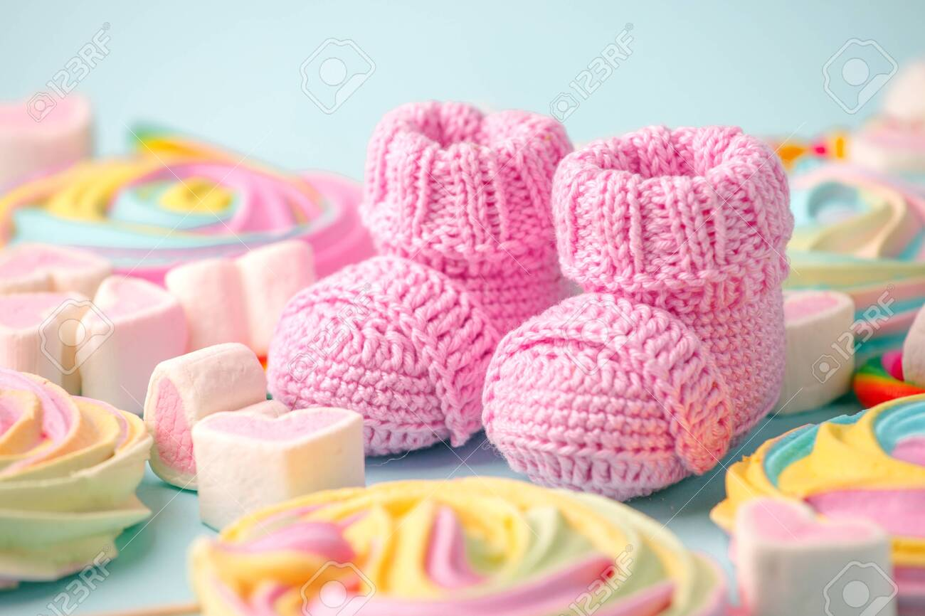Close Up Of Baby Shoes Baby Shower Decoration Sweetness And