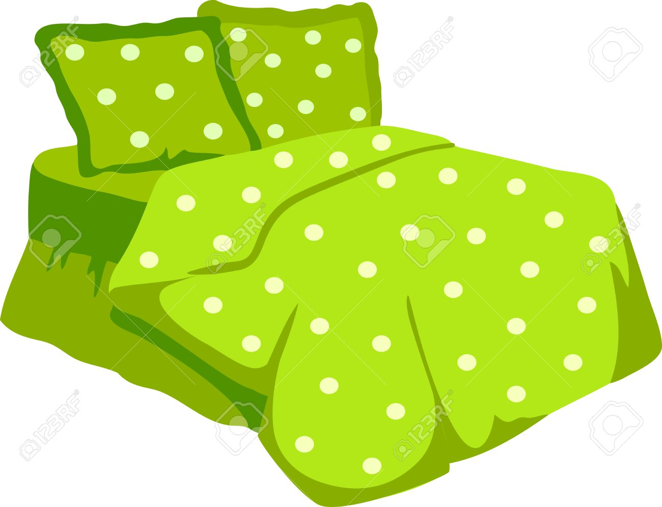 bed with green blanket and pillow illustration of a cartoon
