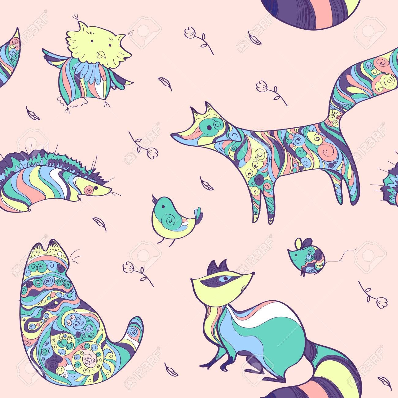 Seamless Vector Animal Pattern Doodling Animal Set On Light Royalty Free Cliparts Vectors And Stock Illustration Image 45983138