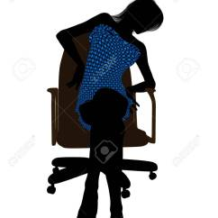 Office Chair Illustration Staples Canada Ergonomic Chairs Female In A Swimsuit Sitting On An Stock Silhouette White Background