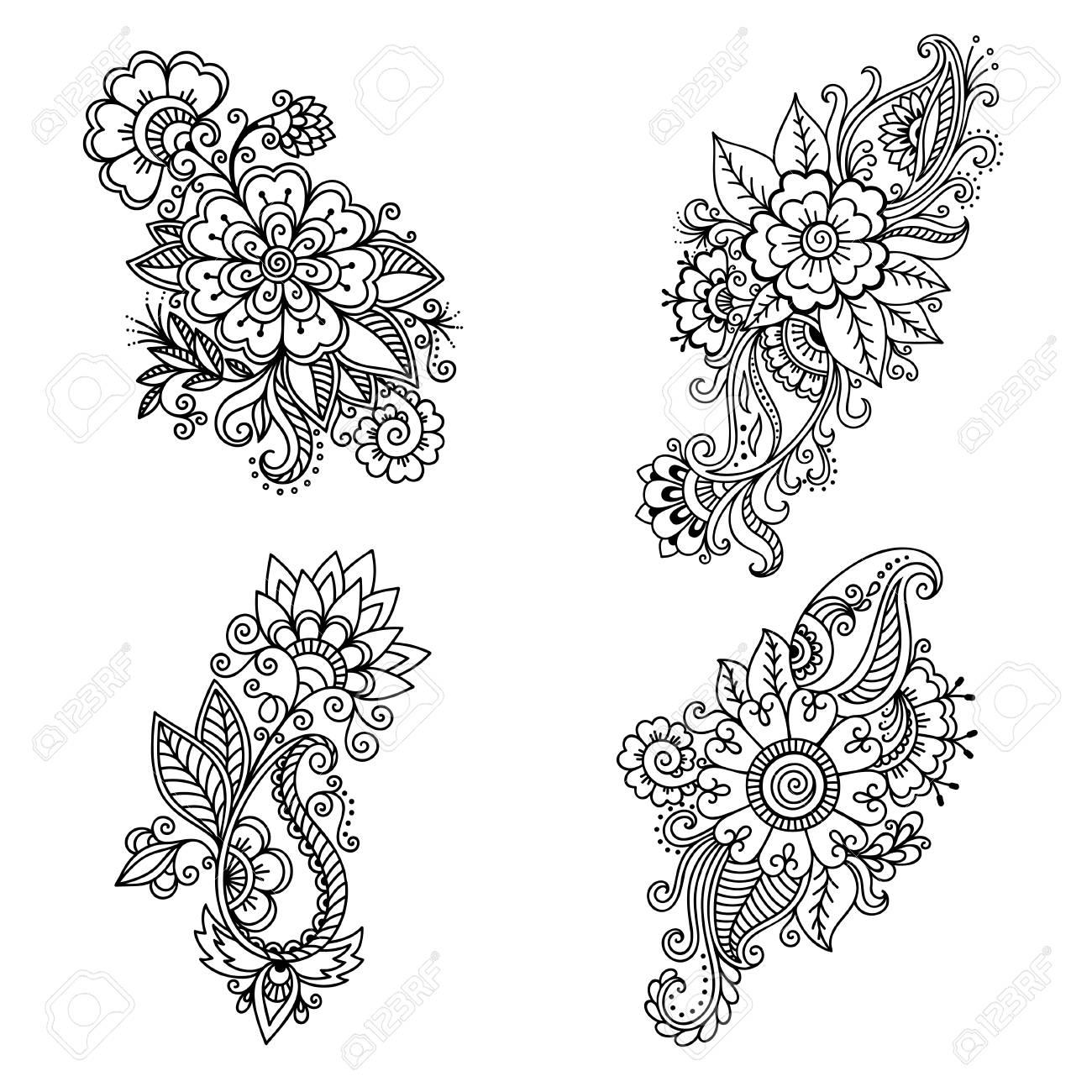 Henna Plantilla De Tatuaje De Flores En Estilo Indio étnica Paisley