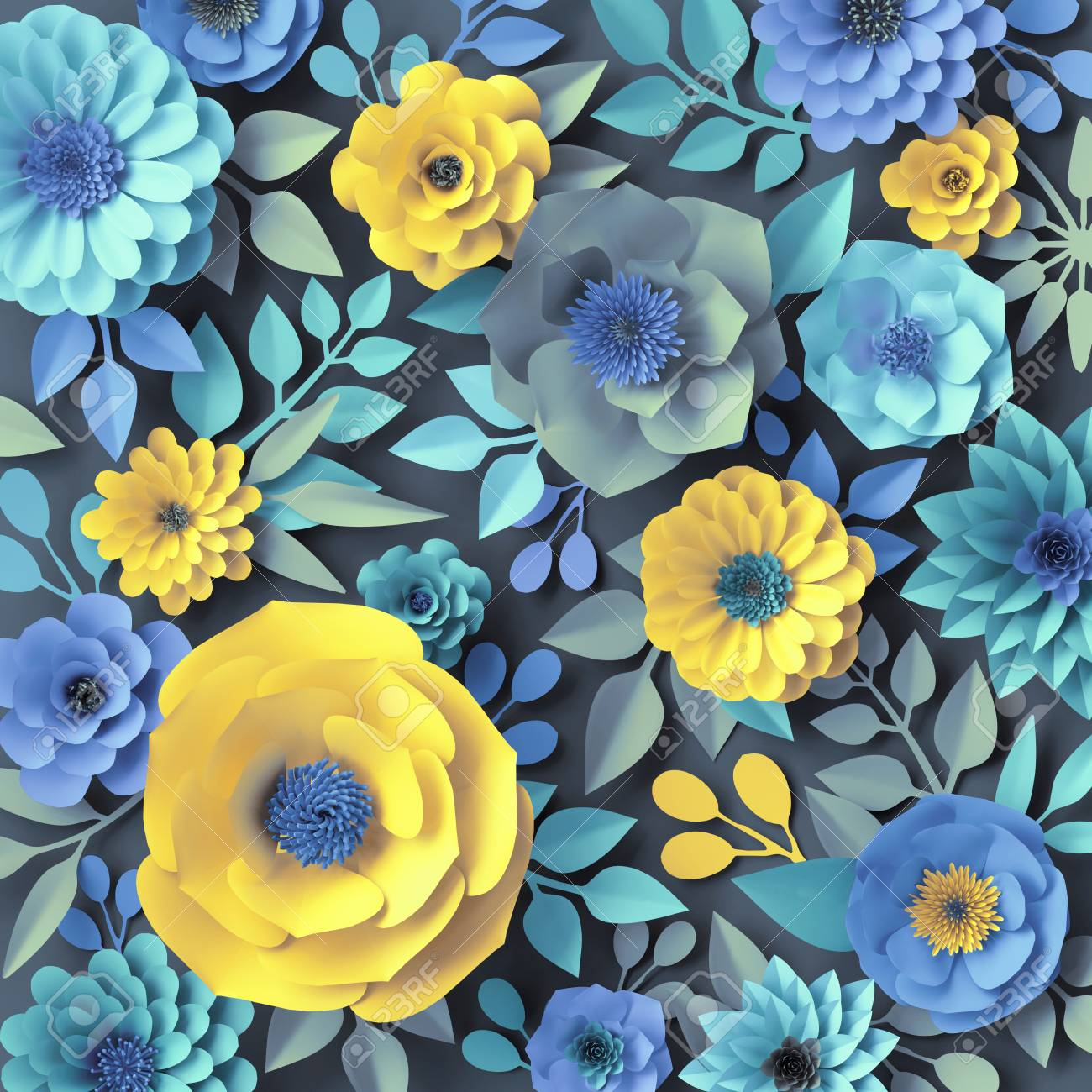 3d render blue yellow