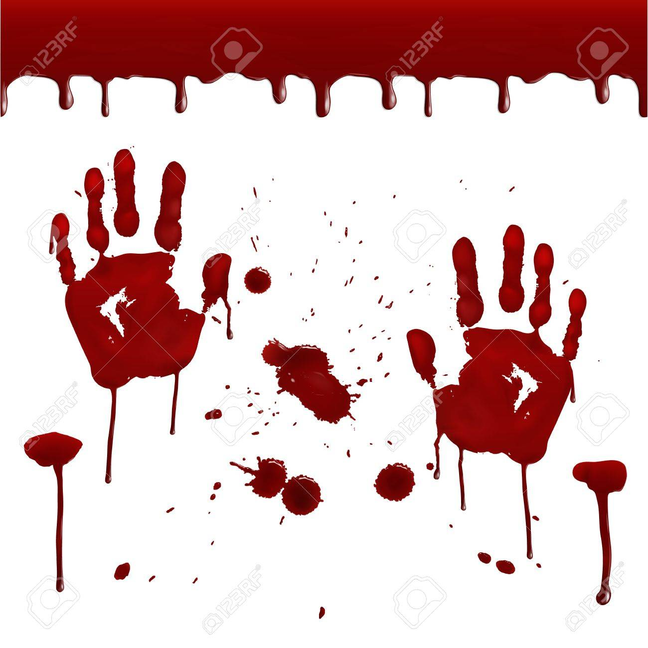 hight resolution of set of realistic bloody prints seamless pattern of dripping blood drops splashes prints of the right and left hands design for posters banners