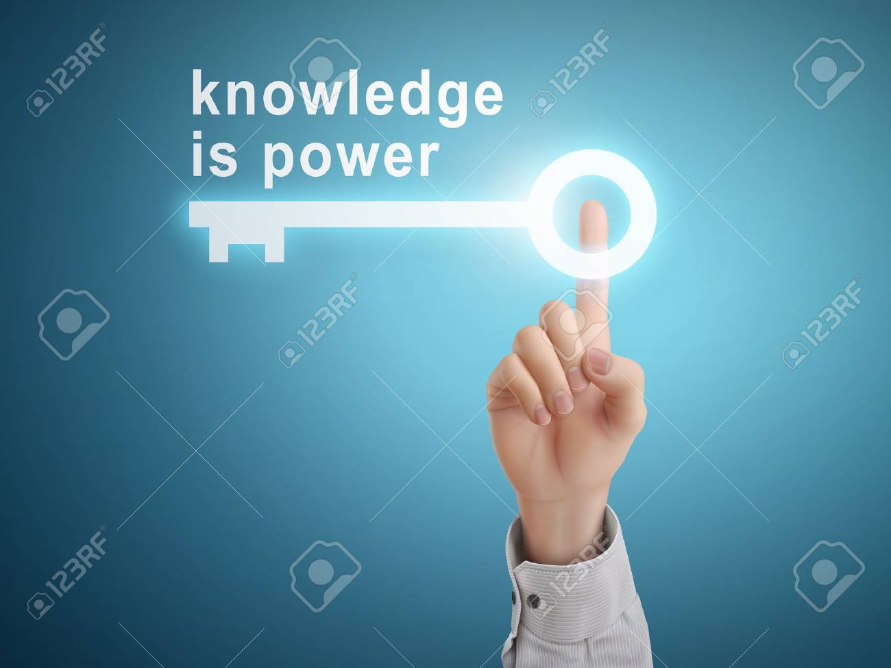 male hand pressing knowledge