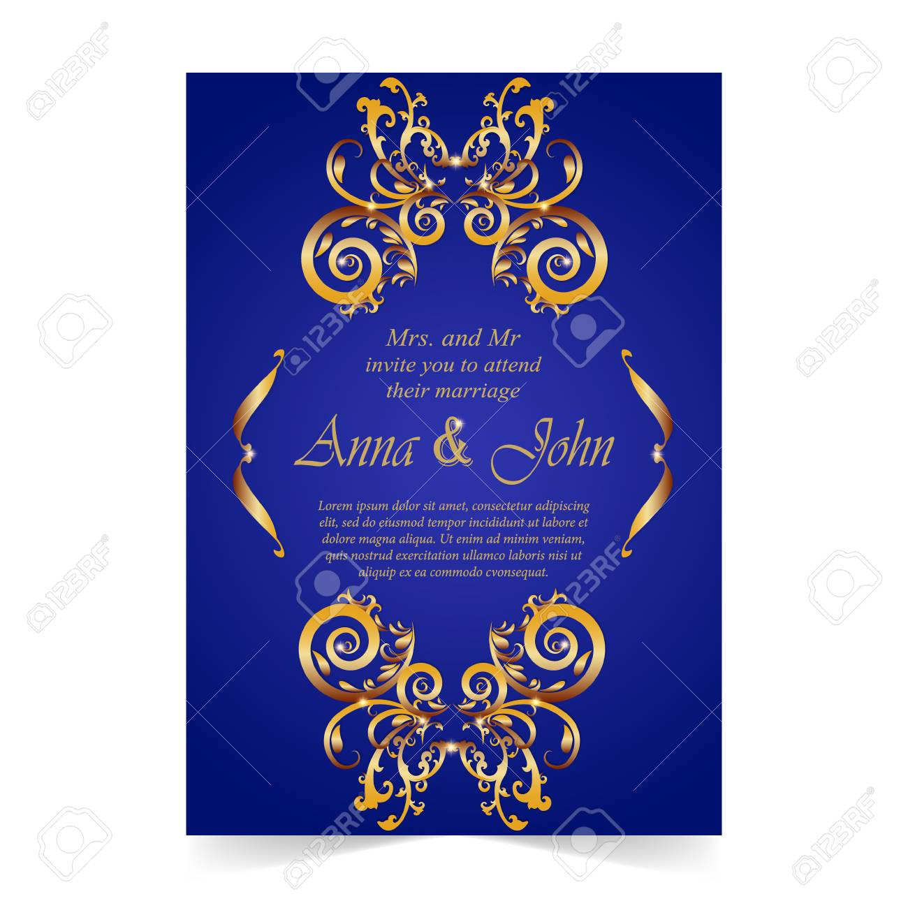 wedding card invitation card with ornamental on royal blue background