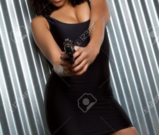 Sexy Black Girl Holding Gun Stock Photo Picture And Royalty Free