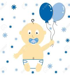 baby boy with party balloons stock vector 10229653 [ 1300 x 1300 Pixel ]