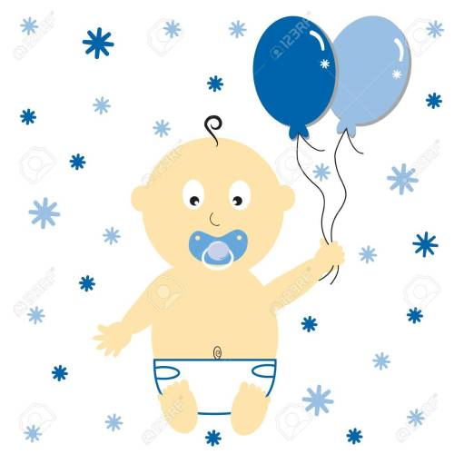 small resolution of baby boy with party balloons stock vector 10229653