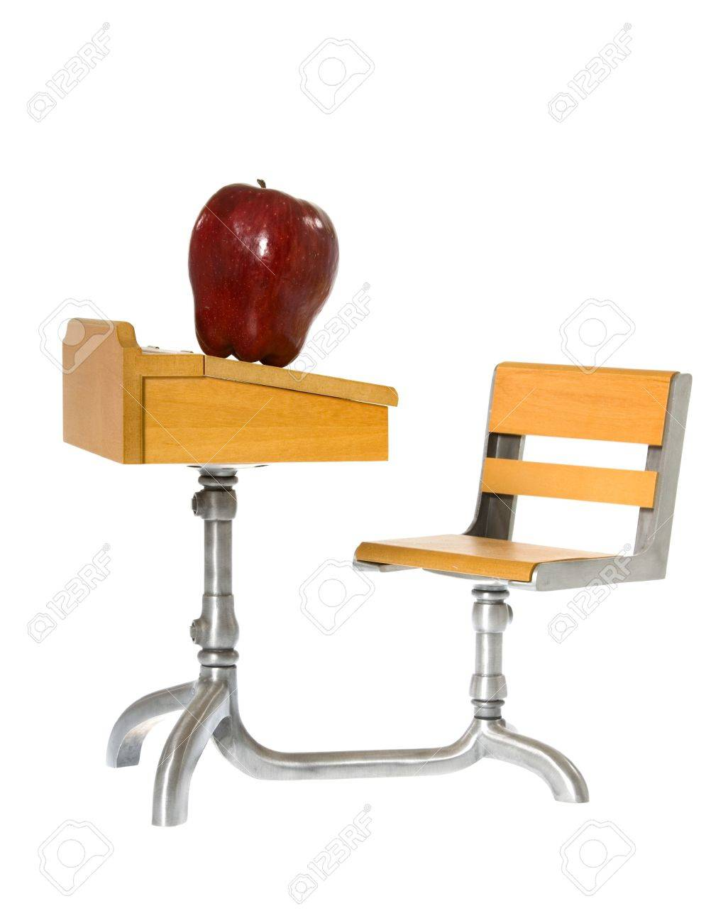 chair connected to desk rocking and ottoman slipcover colonial style antique looking child s miniature toy wooden school with