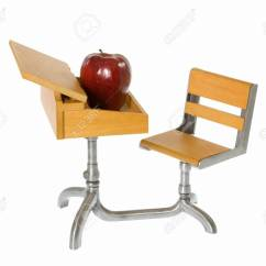 Chair Connected To Desk Two Person Recliner Chairs Child S Miniature Toy Wooden School With And An Apple On Top Of