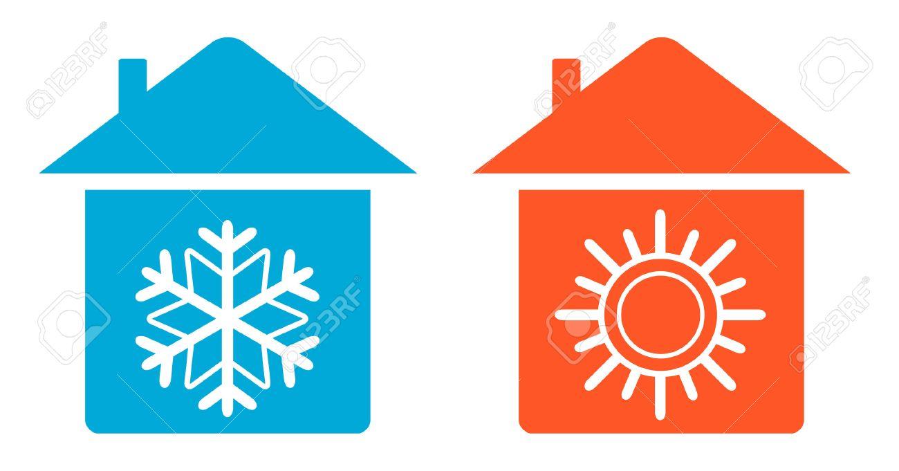 mettre la climatisation icone chaud et froid dans la maison