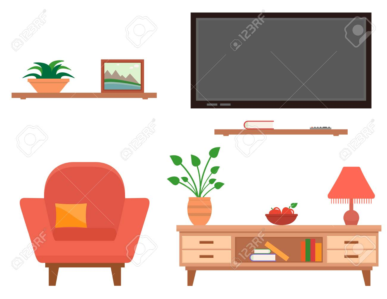 hight resolution of living room furniture set stock vector 76710399