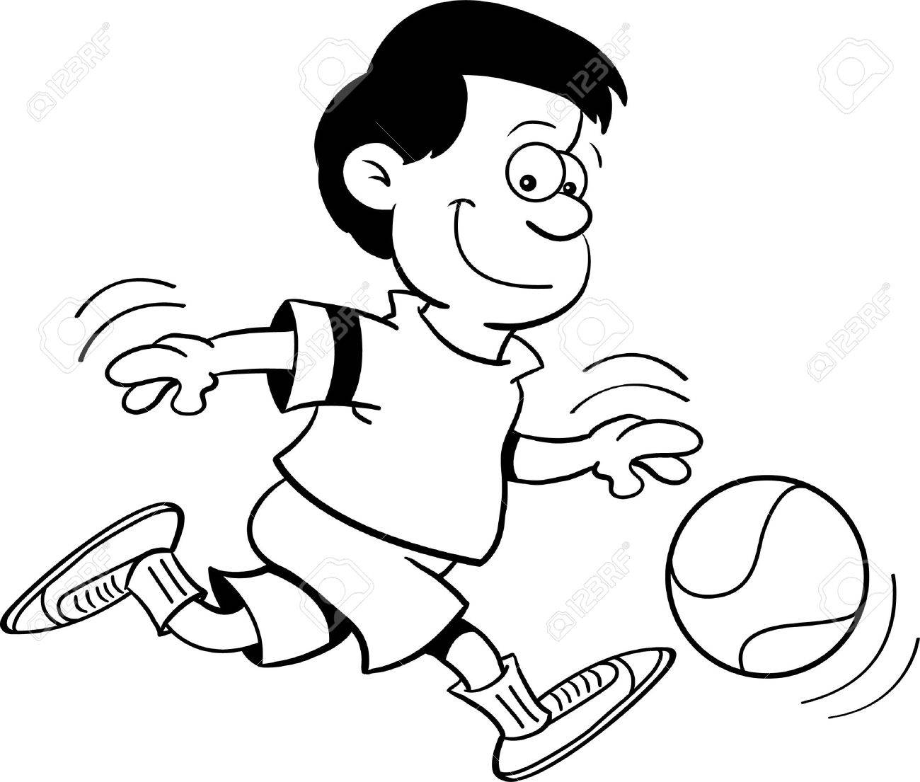 hight resolution of black and white illustration of a boy playing basketball stock vector 15114933