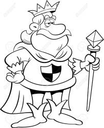 Black And White Illustration Of A King Holding A Scepter Royalty Free Cliparts Vectors And Stock Illustration Image 51290025