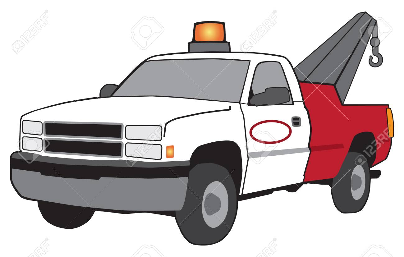 hight resolution of a cartoon tow truck with flashing light and large hook stock vector 96094043