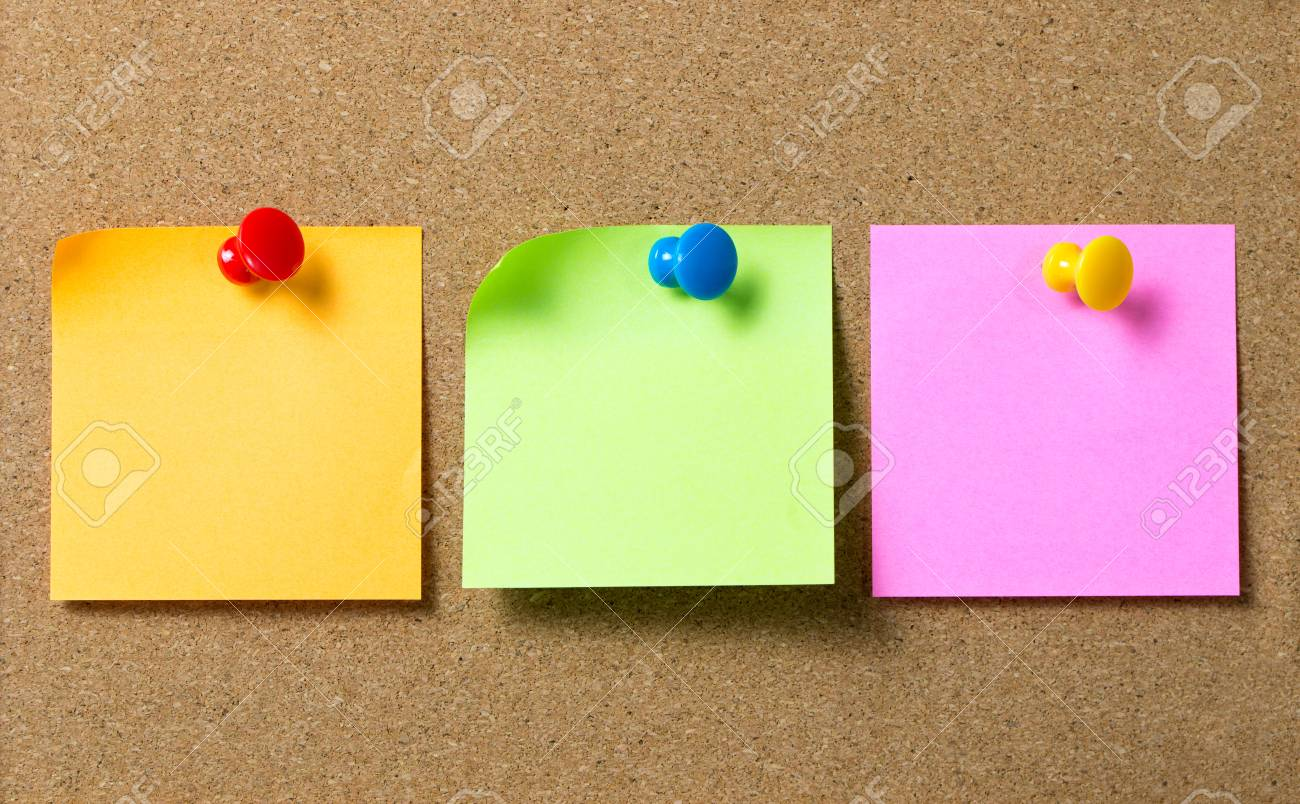 three colors sticky notes