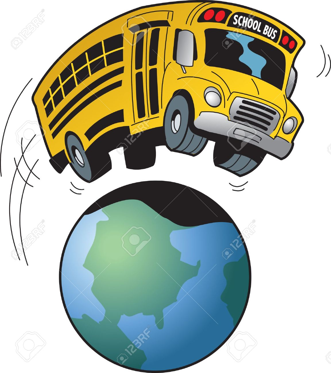 hight resolution of cartoon of a school bus going on a field trip to anywhere in the world stock
