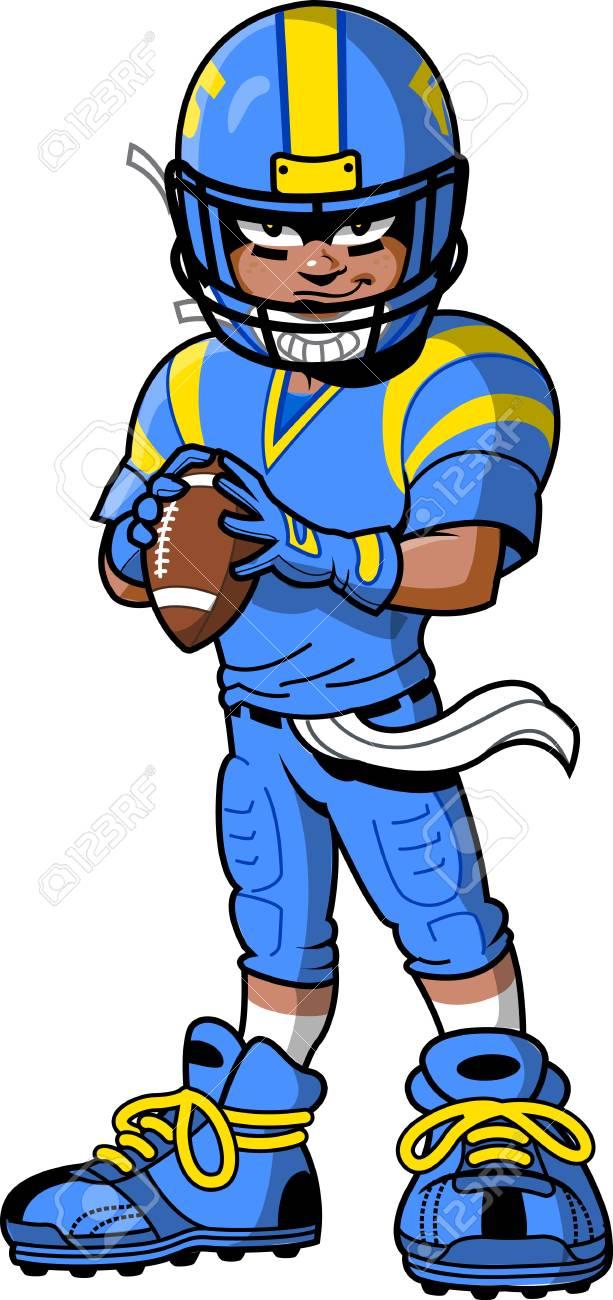 hight resolution of black african american football player cartoon clip art stock vector 92596465
