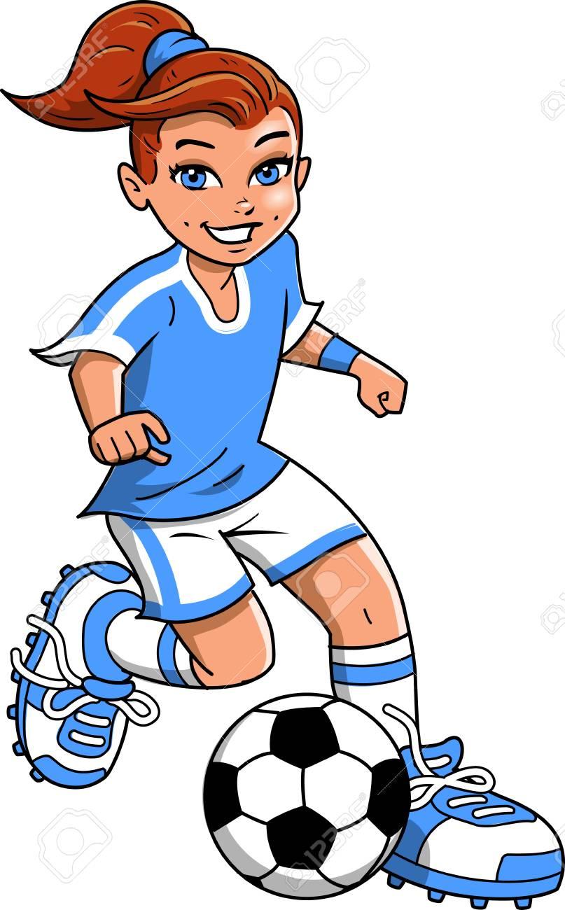 hight resolution of soccer football girl player vector clip art cartoon stock vector 92596526