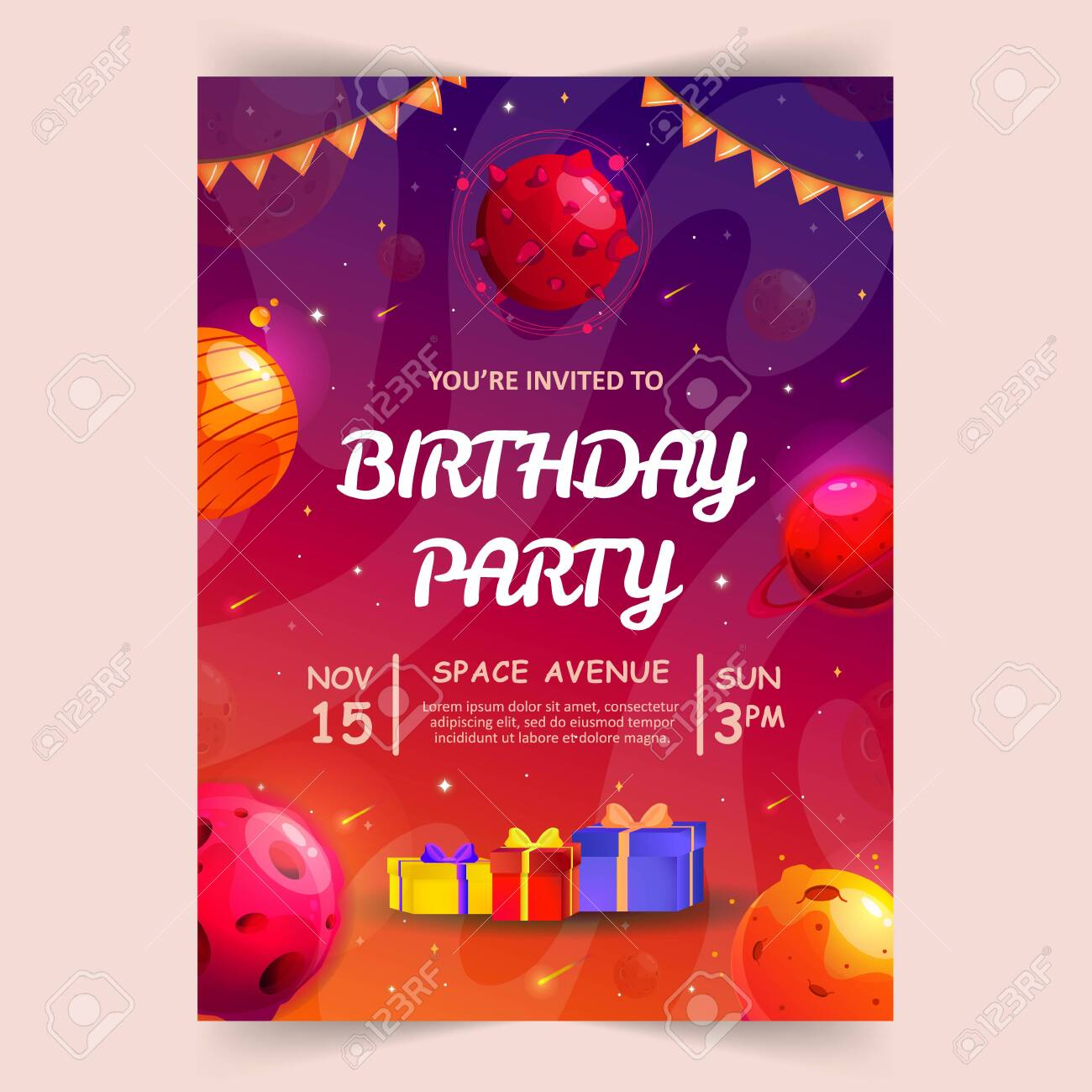 kids birthday party invitation card with cute little planets space universe and sky background vector illustration