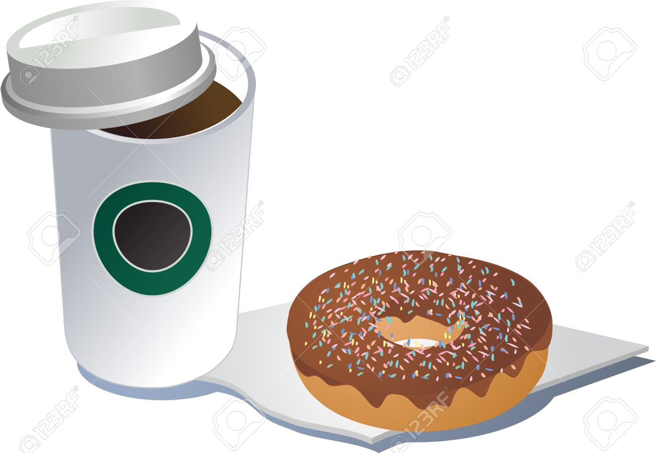 hight resolution of coffee in a polystyrene cup and donut on a napkin 3d isometric illustration stock illustration