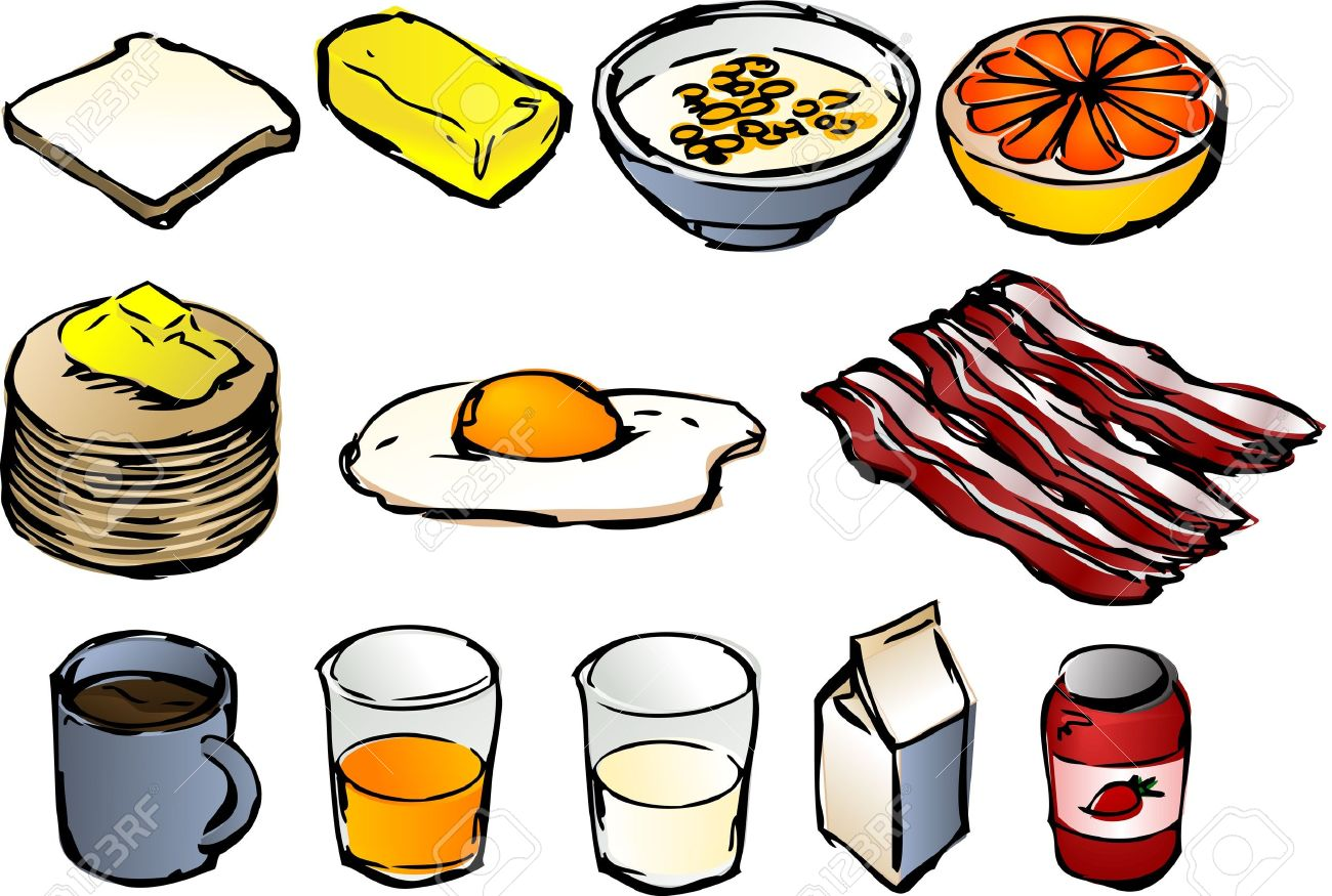 hight resolution of breakfast clipart illustrations vector 3d isometric style bread butter cereal