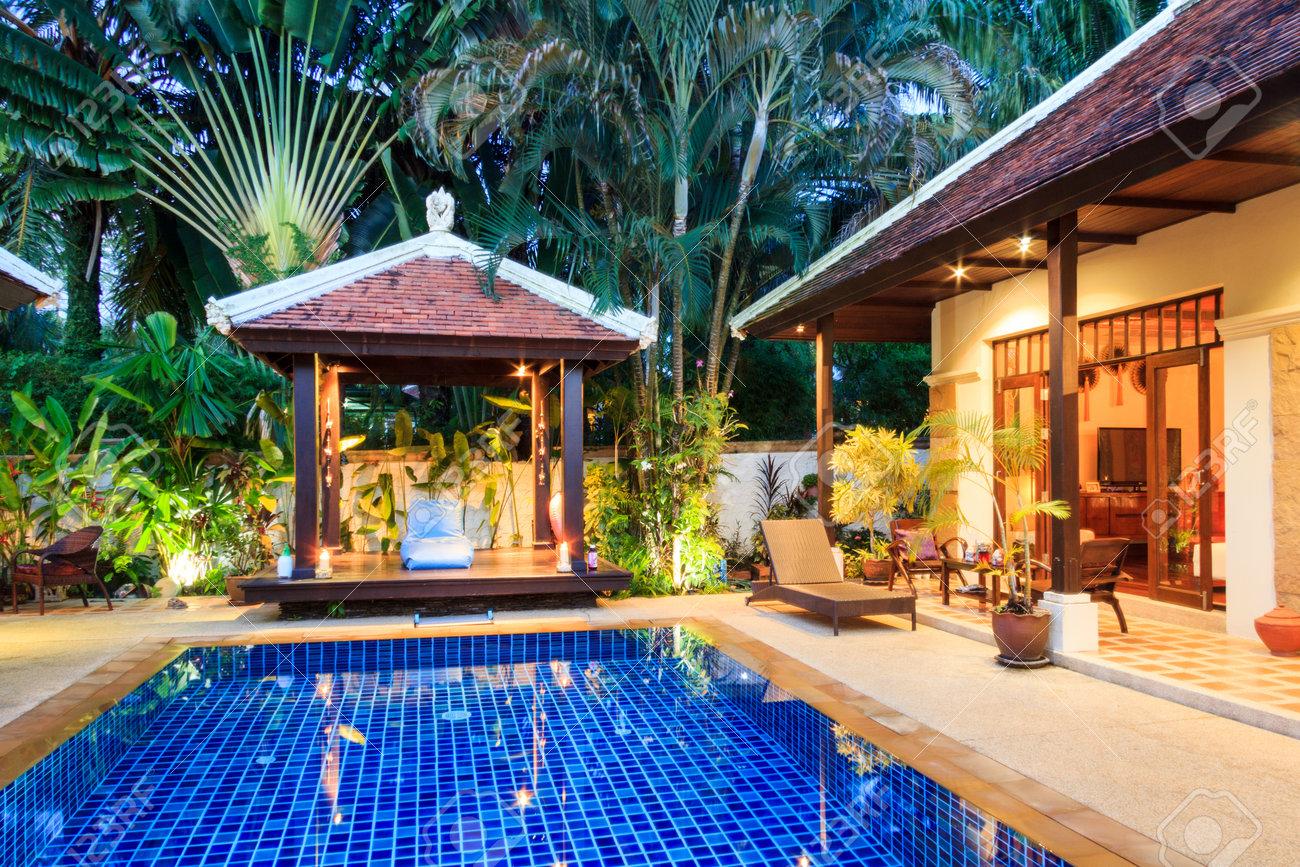 Luxury Tropical Villa Phuket Thailand At Twilight