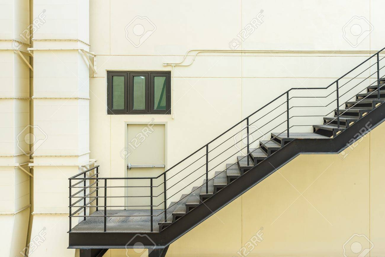 Stair For Fire Escape With The Steel Railing And Ladder On Side   Steel Fire Escape Stairs   Architectural   Internal   Industrial   Emergency   Fire Exit