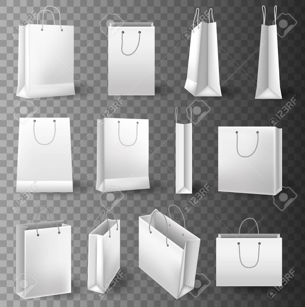 Realistic tote shopping bag mock up template for corporate identity isolated vector illustration on transparent background. Set Of Mockup Of Realistic White Paper Bag Paper Shopping Bag Mockup Set For Branding And Corporate Identity Design Square And Horisontal Paper Shopping Bag Royalty Free Cliparts Vectors And Stock Illustration
