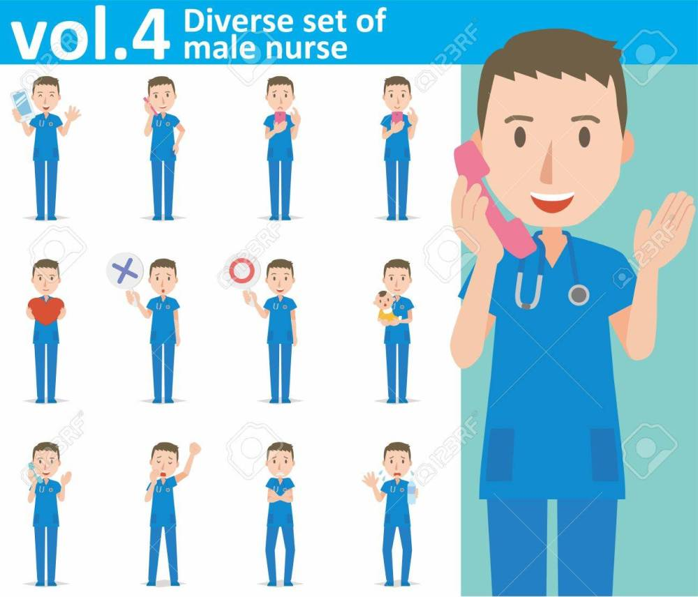 medium resolution of diverse set of male nurse on white background stock vector 62103294