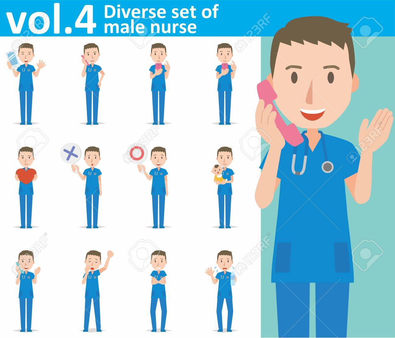 hight resolution of diverse set of male nurse on white background stock vector 62103294