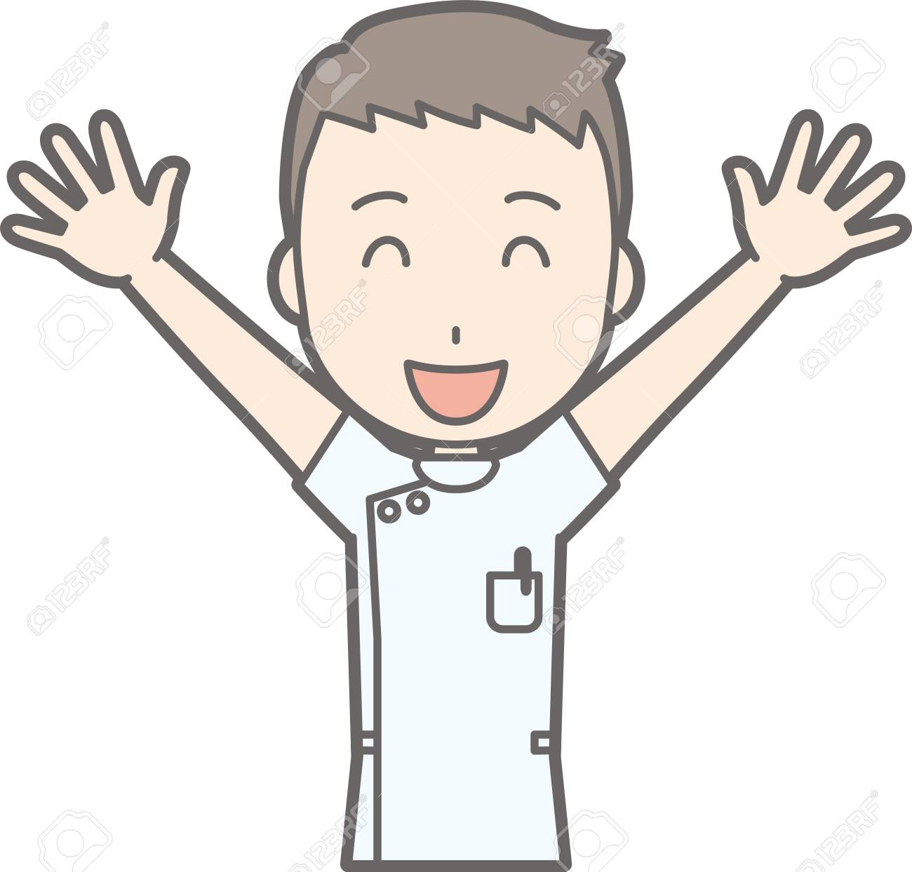 hight resolution of illustration that a male nurse wearing a white coat lifts both hands high and laughing stock