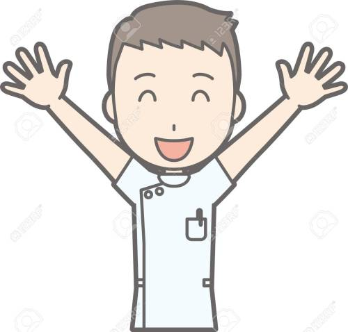 small resolution of illustration that a male nurse wearing a white coat lifts both hands high and laughing stock