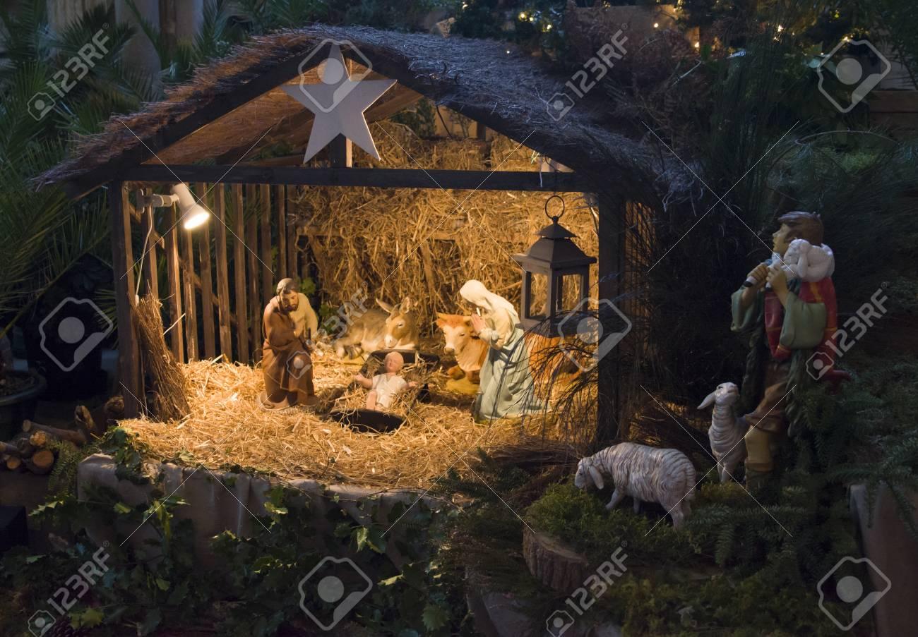 christmas creche with joseph