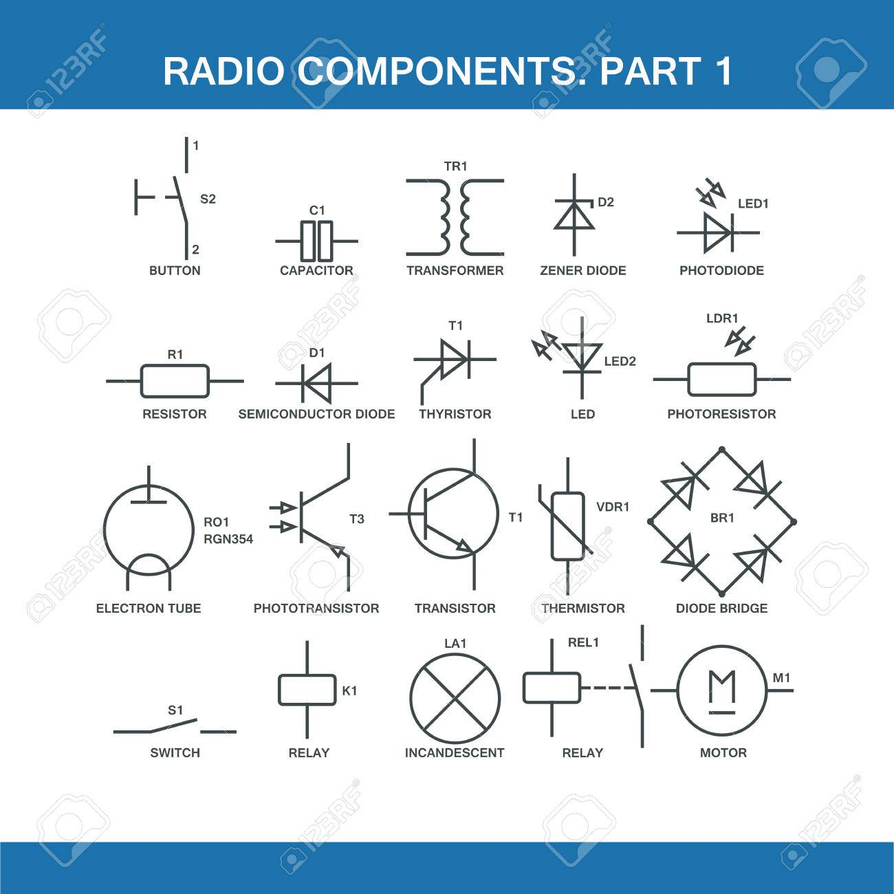 hight resolution of designation of components in the wiring diagram in vector format eps10 stock vector 52237902