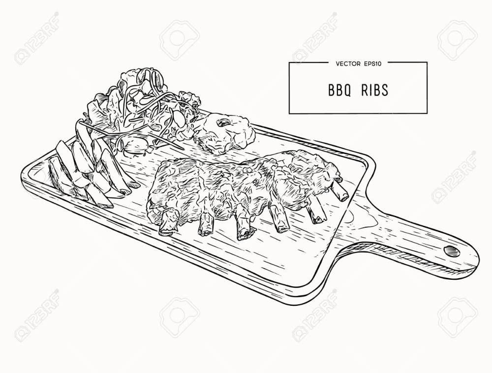 medium resolution of illustration of grilled spare ribs with smashed potato french fries and fresh salad serve on