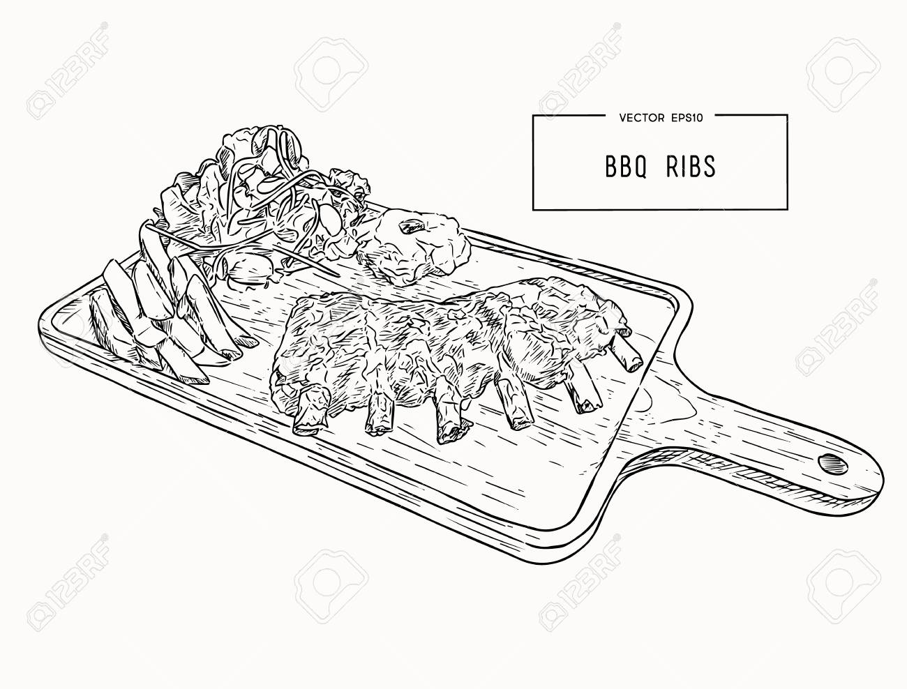 hight resolution of illustration of grilled spare ribs with smashed potato french fries and fresh salad serve on