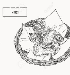 hand drawn sketch buffalo chicken wings vector black and white vintage illustration isolated object [ 1300 x 988 Pixel ]