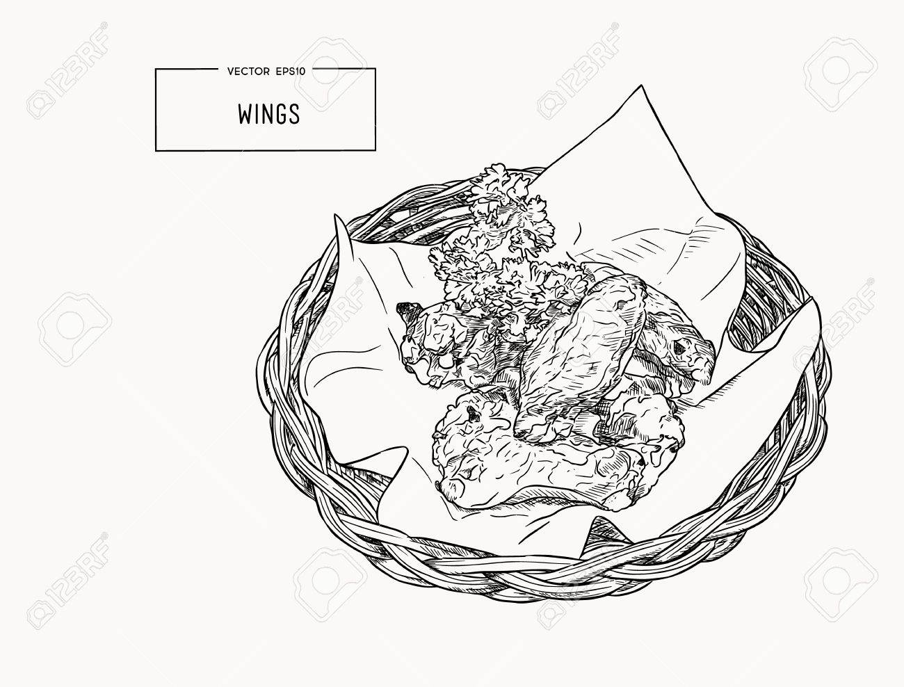 hight resolution of hand drawn sketch buffalo chicken wings vector black and white vintage illustration isolated object