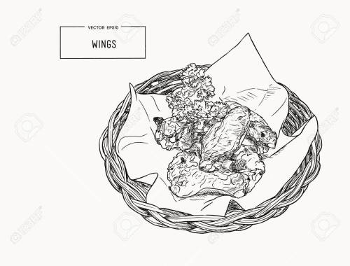 small resolution of hand drawn sketch buffalo chicken wings vector black and white vintage illustration isolated object