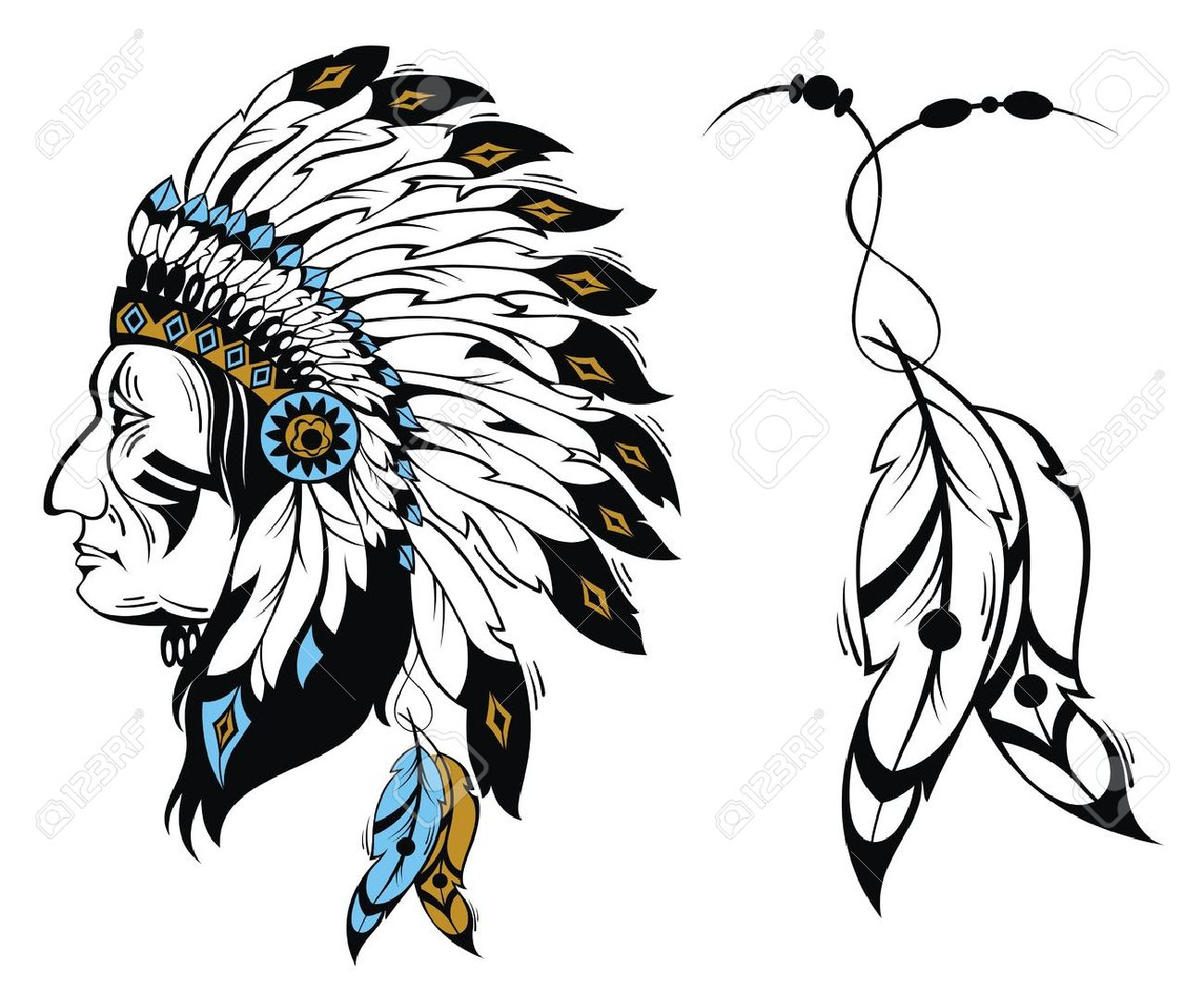 hight resolution of north american indian chief vector illustration stock vector 51898919