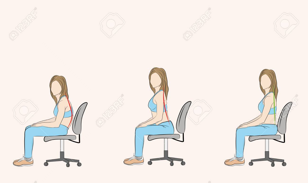 posture chair sitting acrylic chairs canada correct and incorrect when on a medical recommendations vector illustration