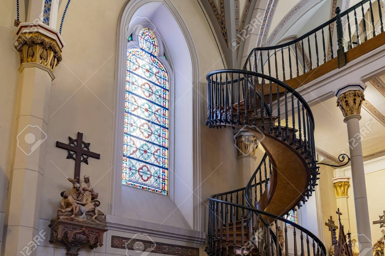 Santa Fe Oct 6 Helix Shaped Spiral Staircase Of The Famous   Chapel With Spiral Staircase   Catholic Church   Stairway   Miraculous   Choir Loft   Sante Fe
