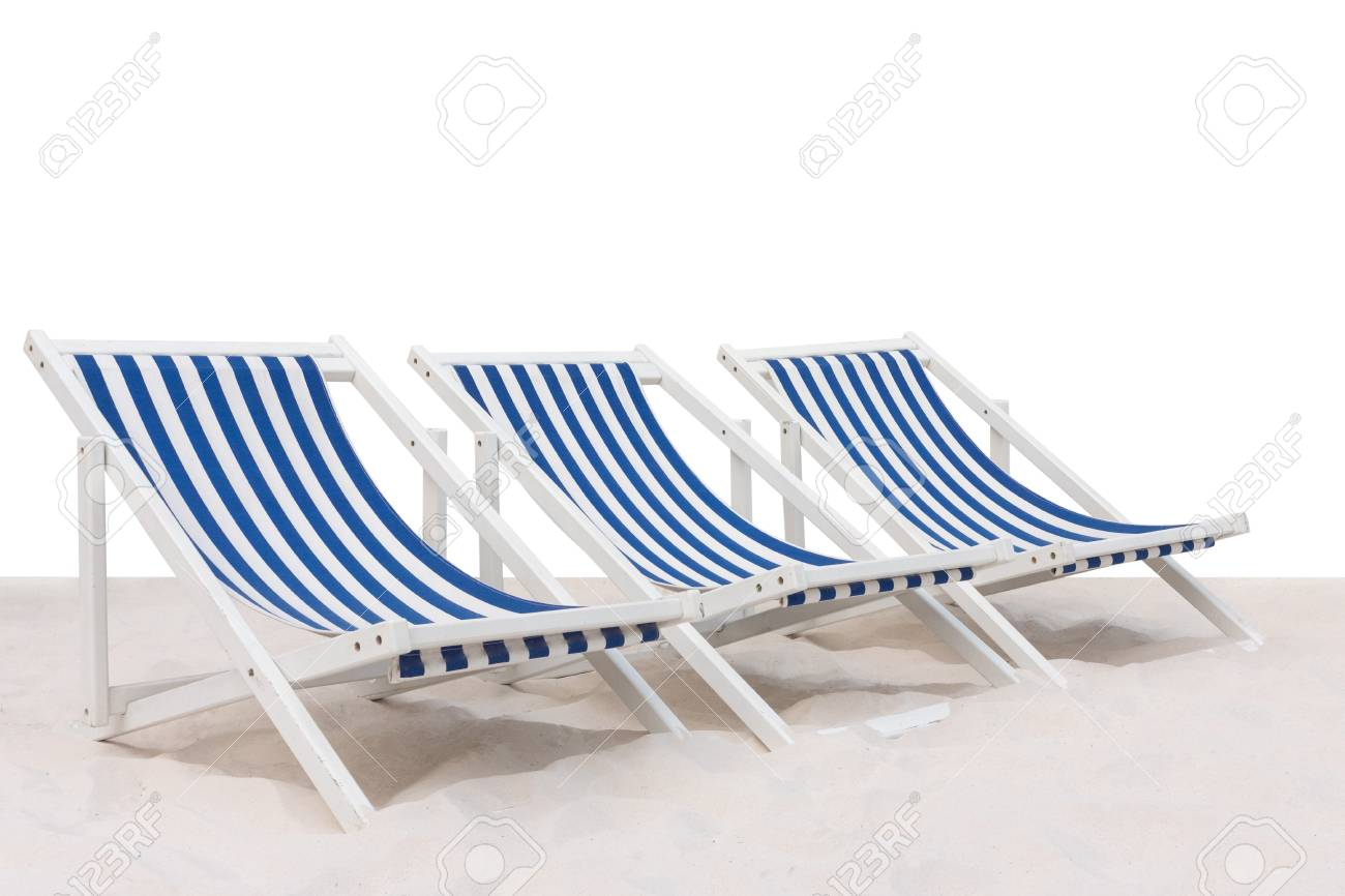 Blue And White Striped Chair Three Blue And White Striped Beach Chair On The Sand Beach Isolated