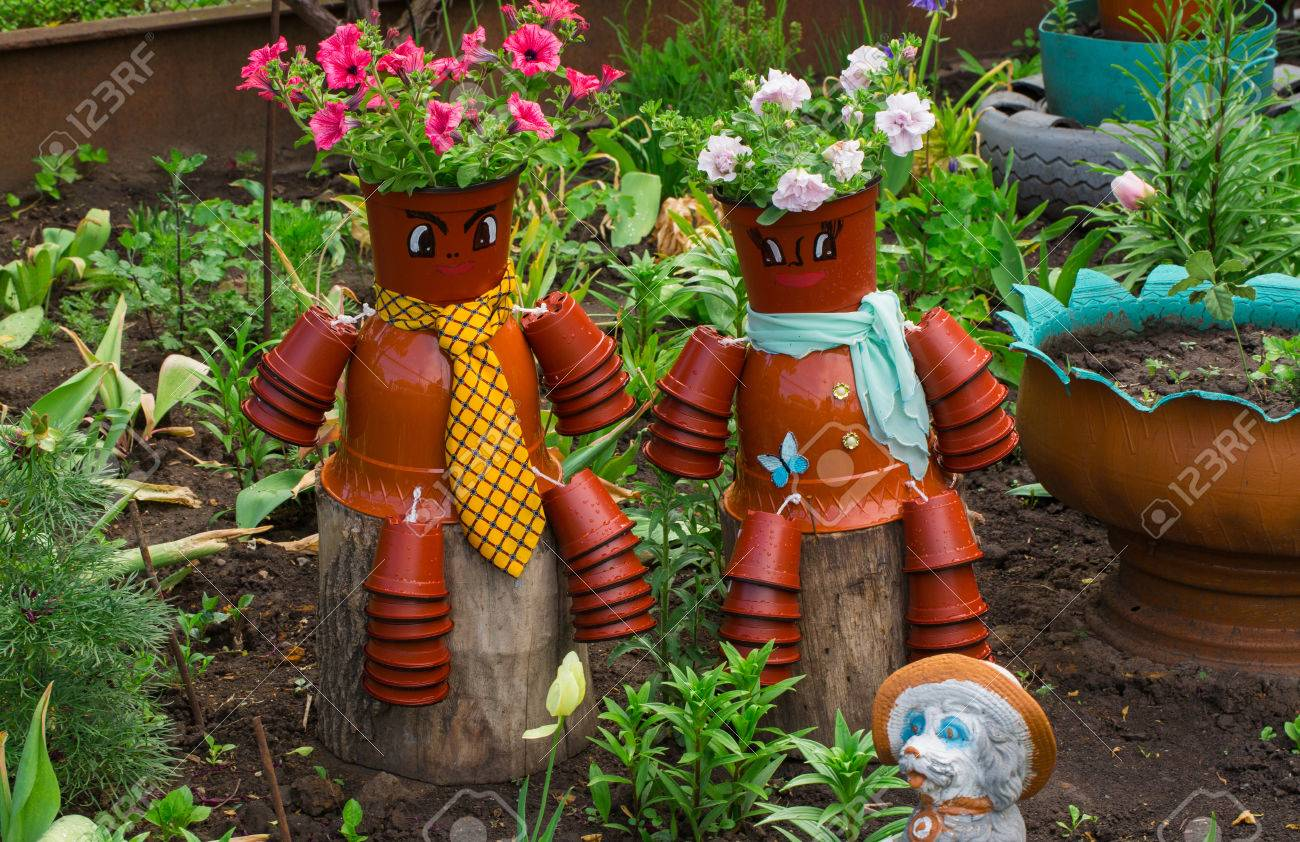 Decoration Jardin Pot Decoration For Garden Pot Puppets With Flowers