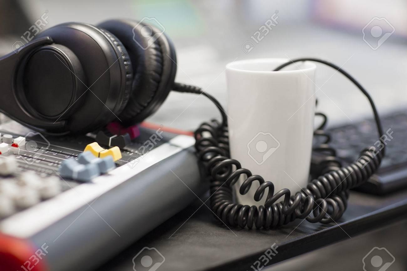 hight resolution of headphones with spiral cord in radio studio stock photo 79451264