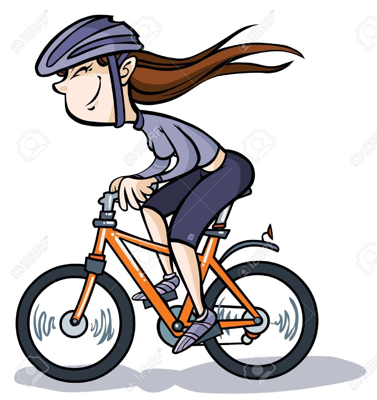cartoon girl on bike